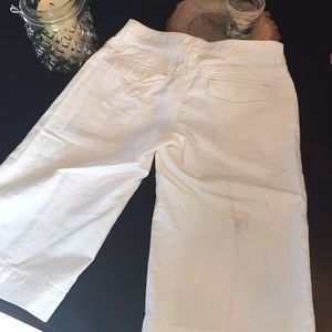White wide cropped leg pants